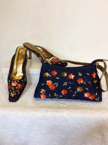 JANE SHILTON CHER BLUE DENIM EMBELLISHED MULES & MATCHING BAG SIZE 7.5/41