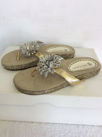 BRAND NEW JUICY COUTURE SILVER TOE POST FLIP FLOPS SIZE 1.5