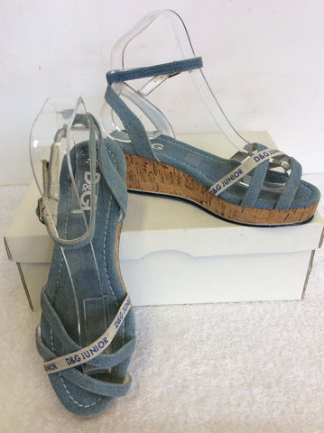 BRAND NEW DOLCE & GABBANA JUNIOR BLUE DENIM WEDGE HEEL SANDALS SIZE 2.5/35