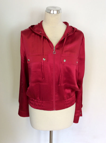 BETTY BARCLAY RED SILK HOODED ZIP UP JACKET SIZE 12