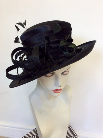 OCCASIONS BY FAILSWORTH MILLINERY BLACK COIL & FEATHER TRIM FORMAL HAT