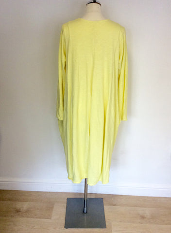 BRAND NEW MADE IN ITALY YELLOW COTTON OVERSIZE DRESS SIZE L/XL