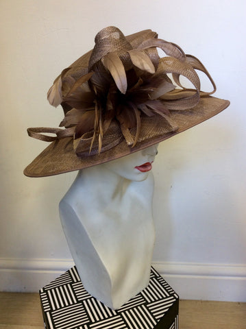 LINEA LIGHT BROWN BOW & FEATHER TRIM FORMAL HAT ONE SIZE