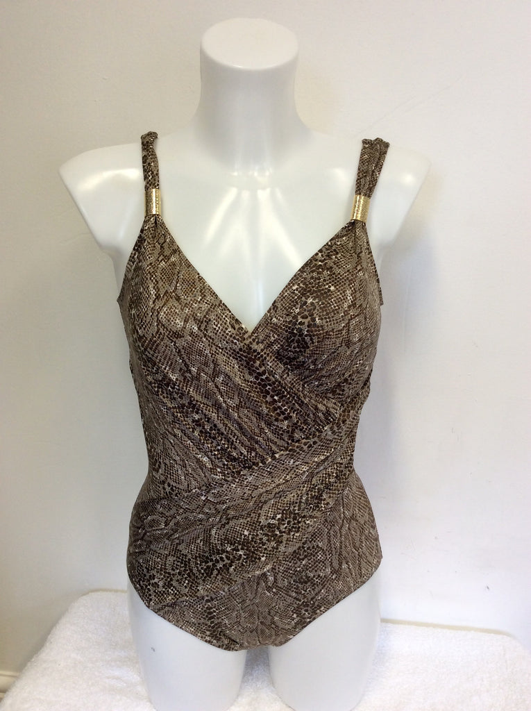 aede9e874625e BRAND NEW MELISSA ODABASH BROWN SNAKESKIN SWIMSUIT & MATCHING MAXI DRESS  SIZE 12