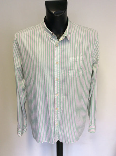 PAUL SMITH GREEN,PINK & WHITE STRIPED COTTON LONG SLEEVE SHIRT SIZE XXL