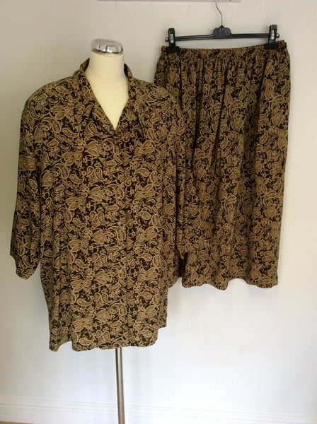 AUGUST SILK BROWN & CAMEL PRINT BLOUSE & SKIRT SIZE XXXL