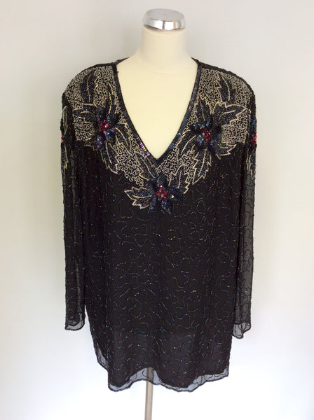 SERENADE BLACK SEQUINNED & BEADED SILK TOP SIZE 26