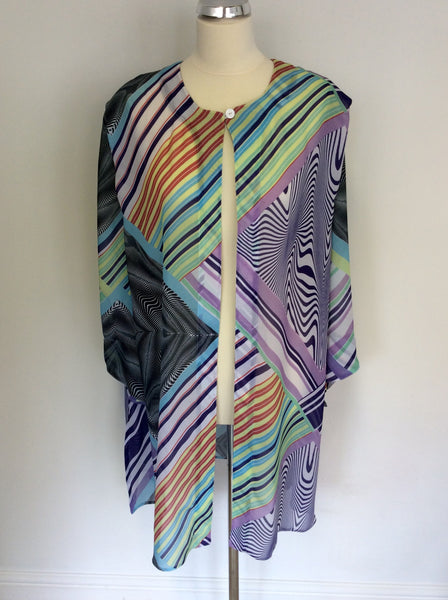 ELENA  GRUNERT MULTICOLOURED PRINT DUSTER COAT/ OVER BLOUSE SIZE XL