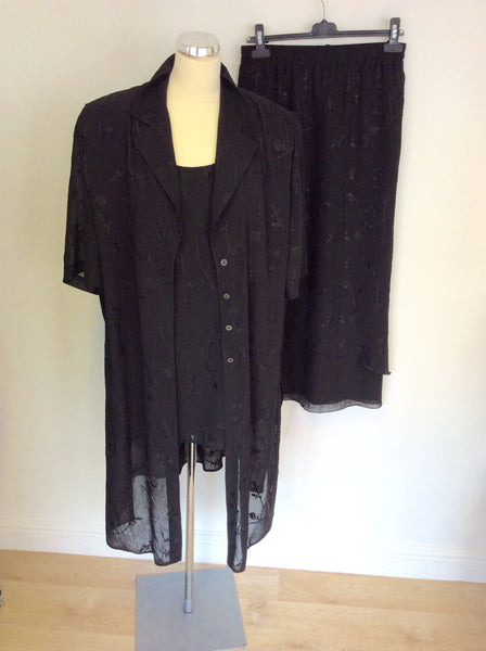 ELENA GRUNERT BLACK TOP, SKIRT & DUSTER SKIRT SIZE 26