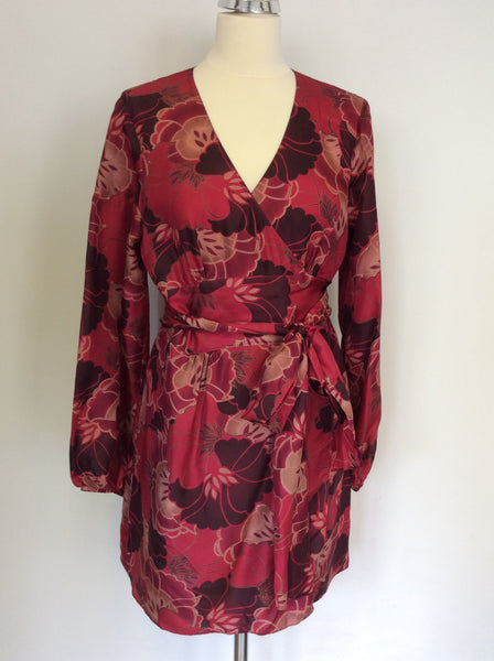 PHASE EIGHT RED SHADES FLORAL SILK WRAP AROUND TUNIC TOP SIZE 14