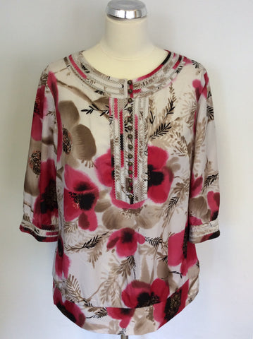 BRAND NEW MONSOON FLORAL PRINT SCOOP NECK TOP SIZE 16