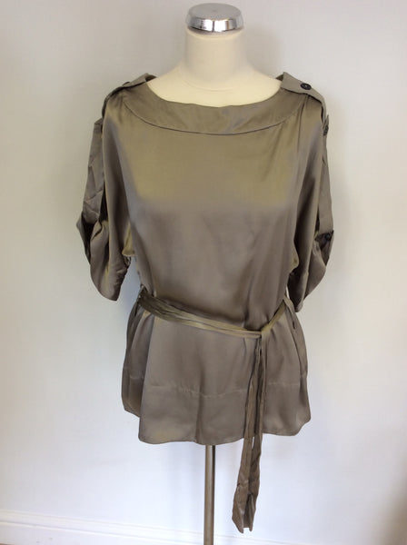 JAEGER MINK SILK SHORT SLEEVE TOP SIZE 14