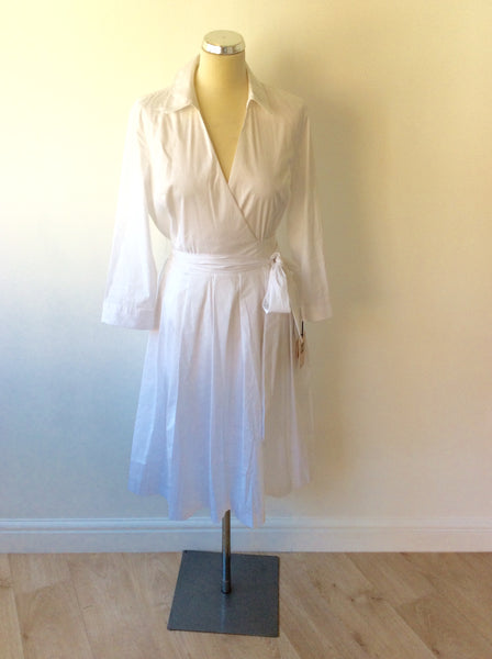 BRAND NEW IVANKA TRUMP WHITE WRAP AROUND COTTON DRESS SIZE 14