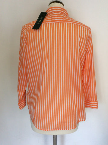 BRAND NEW RALPH LAUREN ORANGE & WHITE STRIPED COTTON SHIRT SIZE M