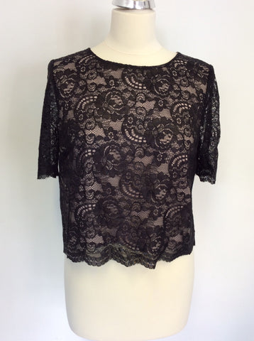 BRAND NEW MONSOON BLACK LACE SHORT SLEEVE TOP SIZE 12