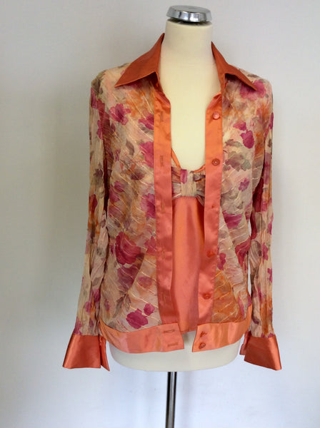 JOSEPH RIBKOFF CORAL FLORAL PRINT BLOUSE/JACKET & MATCHING TOP SIZE 12