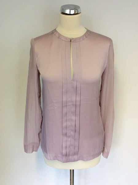 STILLS PALE PINK SILK LONG SLEEVE BLOUSE SIZE 34 UK 8