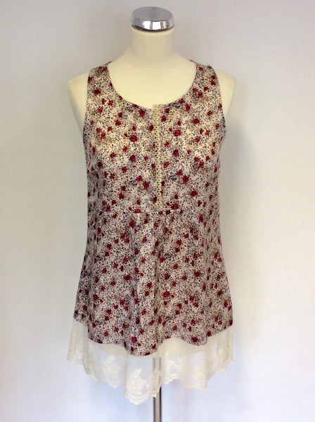 AVOCA ANTHOLOGY CREAM & RED FLORAL PRINT LACE TRIM SMOCK TOP SIZE 2 UK 10
