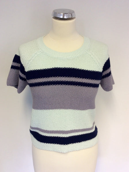 BRORA MINT GREEN,NAVY BLUE & GREY STRIPE SHORT SLEEVE COTTON JUMPER SIZE 8/10