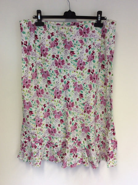LAURA ASHLEY WHITE FLORAL PRINT LINEN SKIRT SIZE 18