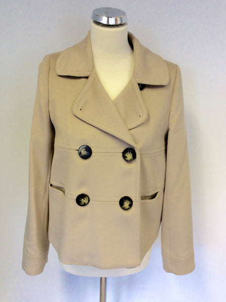 BURBERRY BEIGE WOOL & CASHMERE JACKET SIZE 12