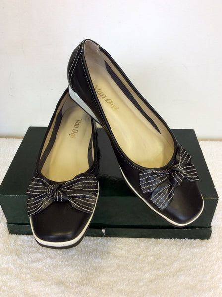 BRAND NEW VAN DAL BLACK LEATHER BOW TRIM WEDGE LOW HEELS SIZE 5/38