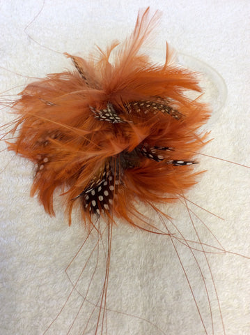 BRAND NEW ORANGE & BLACK SPOTTED FEATHER FASCINATOR