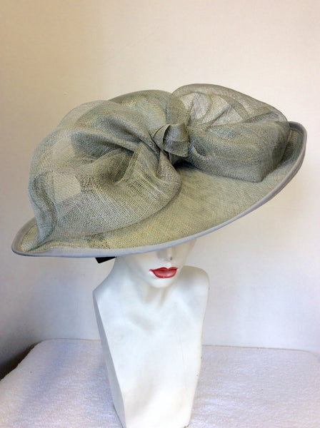 BRAND NEW HATBOX BY DEBENHAMS SILVER GREY BOW TRIM FORMAL HAT