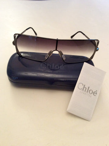 CHLOE LUNETTES PEWTER METAL FRAME SUNGLASSES