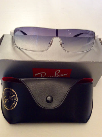 RAY-BAN WHITE & BLACK TRIM SUNGLASSES