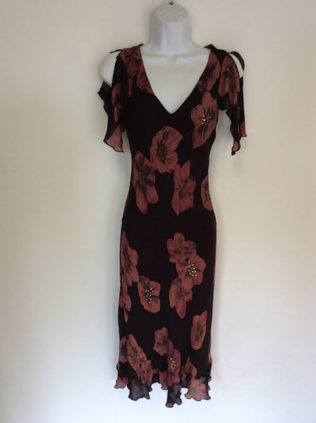 NOUGAT BROWN FLORAL PRINT SILK OCCASION DRESS SIZE 1 UK 8