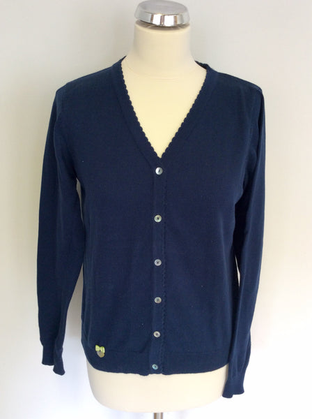 AVOCA ANTHOLOGY BLUE COTTON V NECK CARDIGAN SIZE 2 UK 10/12