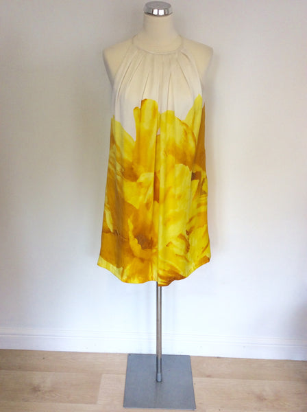 MANGO WHITE & YELLOW FLORAL PRINT DRESS SIZE S