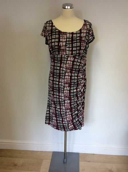 MINUET PETITE BLACK,WHITE,GREY & PINK PRINT DRESS SIZE 16