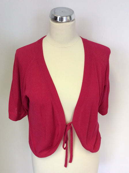 ALMIA HOT PINK SHORT SLEEVE BOLERO CARDIGAN SIZE L