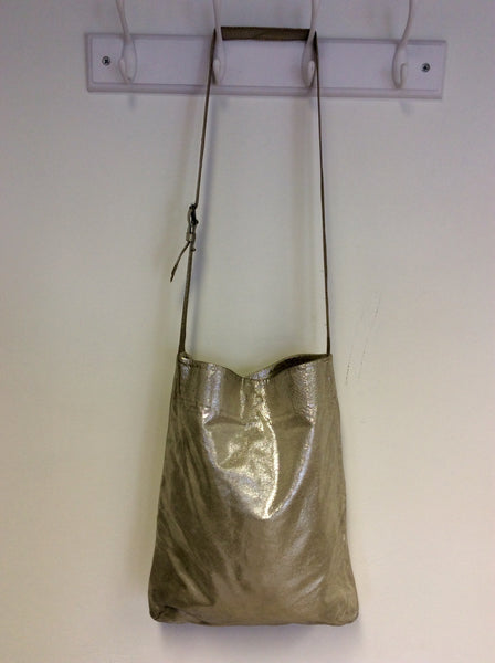 ALL SAINTS SILVER LEATHER SHOULDER BAG