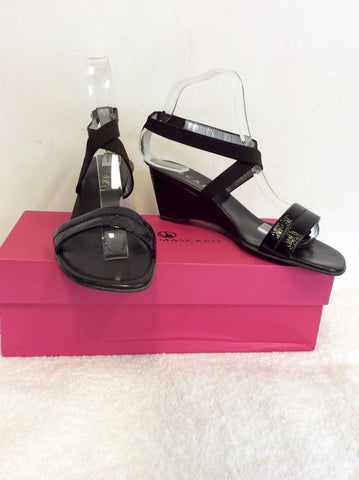 JAIME MASCARO BLACK PATENT LEATHER STRAPPY WEDGE HEEL SANDALS SIZE 6/39
