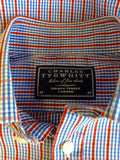 CHARLES TRYWHITT RED,WHITE & BLUE CHECK COTTON LONG SLEEVE SHIRT SIZE M
