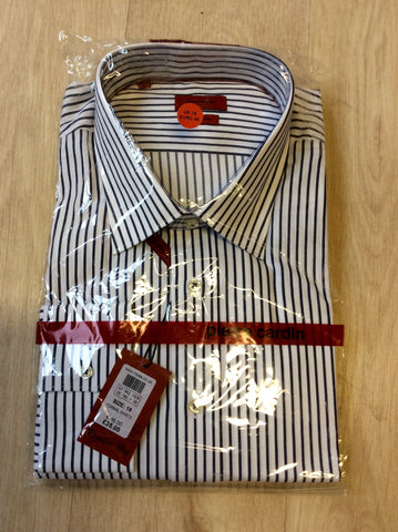 "BRAND NEW PIERRE CARDIN BLUE & WHITE STRIPED SHIRT SIZE 18""R - Whispers Dress Agency - Mens Formal Shirts - 1"