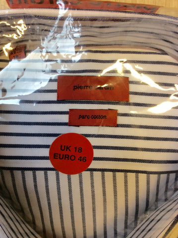 "BRAND NEW PIERRE CARDIN BLUE & WHITE STRIPED SHIRT SIZE 18""R - Whispers Dress Agency - Mens Formal Shirts - 3"