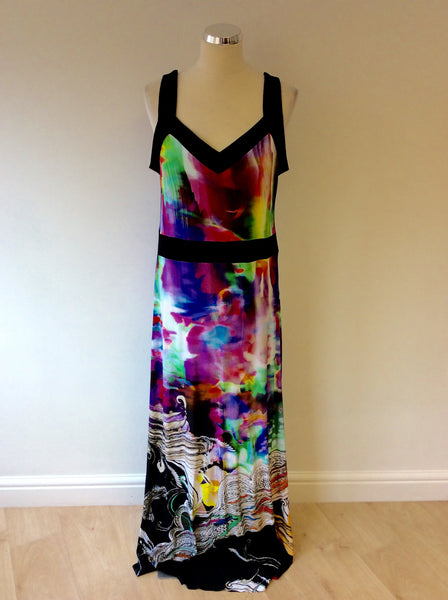 BRAND NEW ARIANA MULTI COLOURED PRINT MAXI DRESS SIZE 42 UK 14 - Whispers Dress Agency - Womens Dresses - 1
