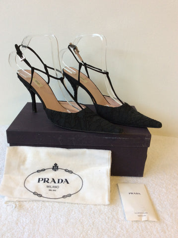PRADA BLACK LACE T BAR OCCASION HEELS SIZE 6.5/39.5 - Whispers Dress Agency - Womens Heels - 1