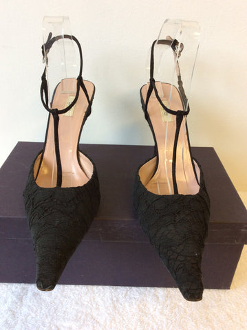 PRADA BLACK LACE T BAR OCCASION HEELS SIZE 6.5/39.5 - Whispers Dress Agency - Womens Heels - 2