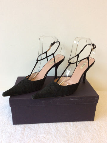 PRADA BLACK LACE T BAR OCCASION HEELS SIZE 6.5/39.5 - Whispers Dress Agency - Womens Heels - 3