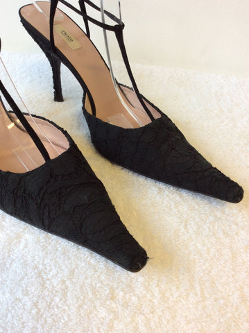 PRADA BLACK LACE T BAR OCCASION HEELS SIZE 6.5/39.5 - Whispers Dress Agency - Womens Heels - 6