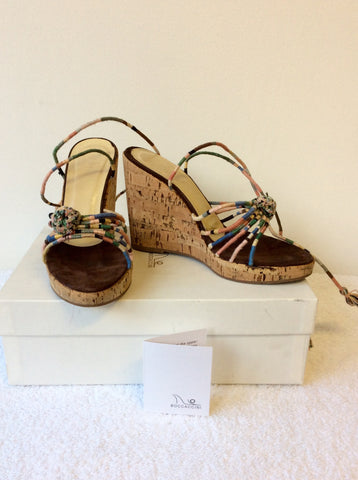 BOCCACCINI MULTI COLOURED WEDGE HEEL SANDALS SIZE 4/37 - Whispers Dress Agency - Womens Wedges - 1