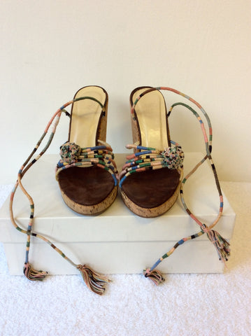 BOCCACCINI MULTI COLOURED WEDGE HEEL SANDALS SIZE 4/37 - Whispers Dress Agency - Womens Wedges - 2