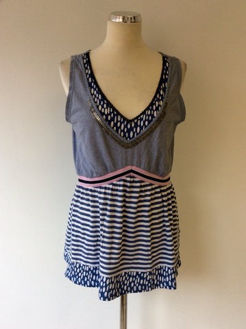 OUI MOMENTS BLUE & WHITE STRIPE SLEEVELESS COTTON TOP SIZE 16