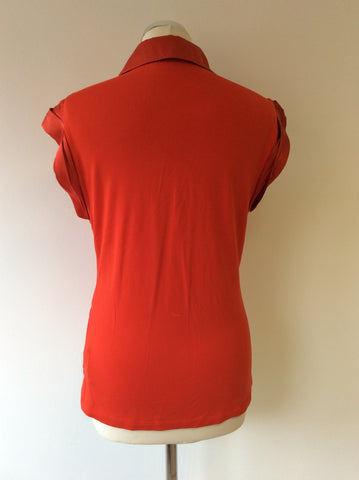 KAREN MILLEN RED SILK TRIM CAP SLEEVE T SHIRT TOP  SIZE 14