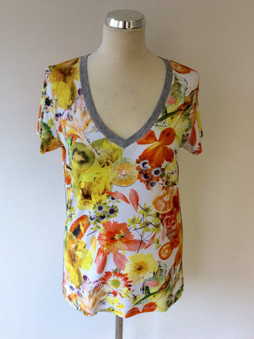 NEW MARCCAIN FLORAL & FRUIT PRINT SHORT SLEEVE T SHIRT SIZE N6 UK 14/16